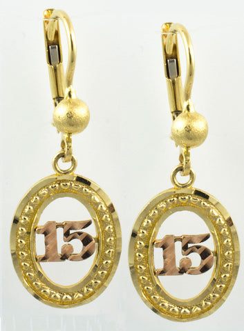 14 Kt Gold Two Tone Oval Quinces Earrings