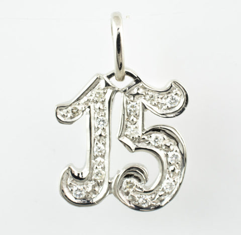 14 Kt White Gold Diamond 15 Charm