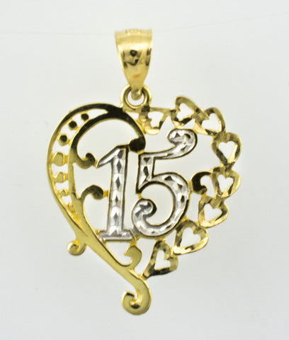 14 Kt Gold Two Tone 15 Heart Charm