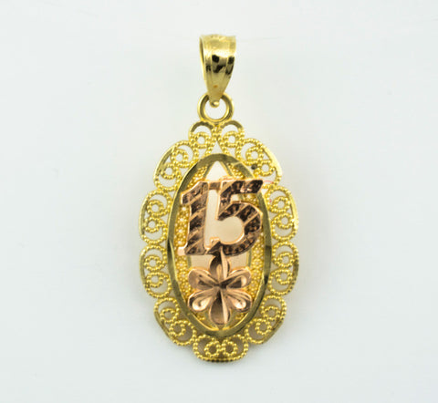 14 Kt Gold Tricolor 15 Oval Charm