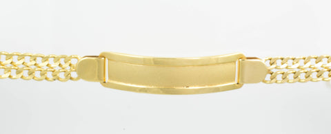 14 Kt Yellow Gold Hammer Double Chain Child ID Bracelet