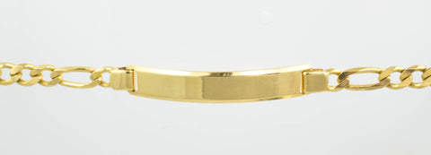 14 Kt Yellow Gold Figaro Child ID Bracelet
