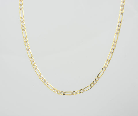 14 Kt Yellow Gold Flat Diamond Cut Figaro Child Chain