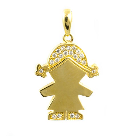 14 Kt Yellow Gold C/Z Girl Charm