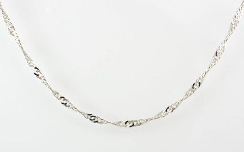 14 Kt White Gold Ladies' Singapore Chain