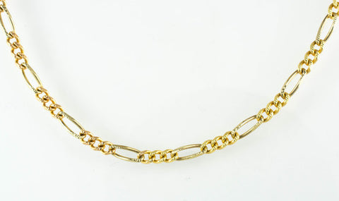 14 Kt Yellow Gold Ladies' Flat Diamond Cut Figaro Chain