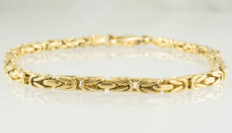 14 Kt Yellow Gold Byzantine Men's Bracelet