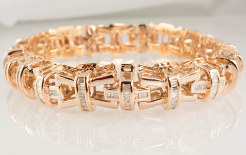 14 Kt Rose Gold Diamond Men's Bracelet