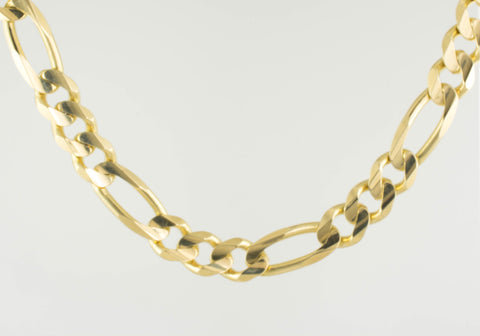 14 Kt Yellow Gold Figaro Italian Men's Bracelet