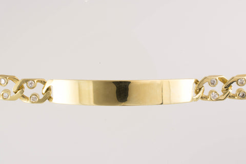 10 Kt Yellow Gold C/Z Men's ID Bracelet