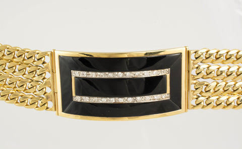 14 Kt Gold ID Diamond & Onyx Men's Bracelet
