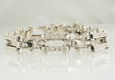 14 Kt White Gold Diamond Men's Bracelet