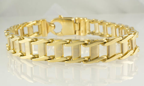 14 Kt Two Tone Gold Italian Men's Bracelet