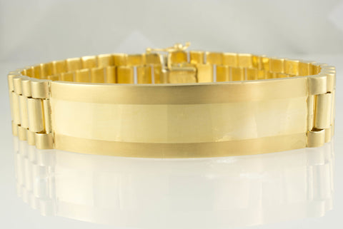 14 Kt Yellow Gold Italian ID Men's Bracelet