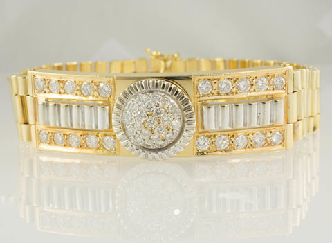 14 Kt Two Tone Gold ID Rolex Style Diamond Men's Bracelet