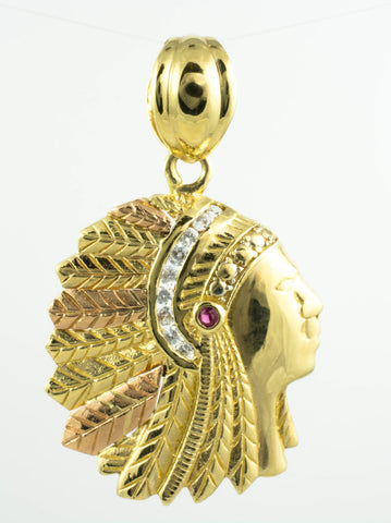 14 Kt Gold Two-Tone Cubic Zirconia Indian Charm