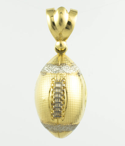 14 Kt Two Tone Gold Football Charm