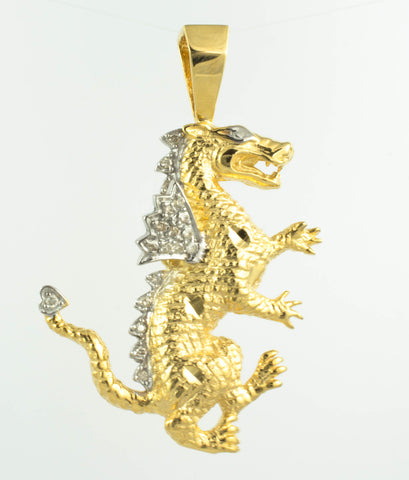14 Kt Yellow Gold Diamond Dragon Charm