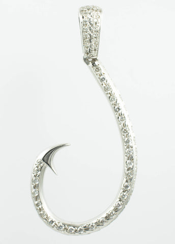 14 Kt White Gold Fish Hook Diamond Charm