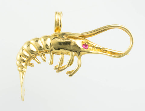 14 Kt Yellow Gold C/Z Shrimp Charm
