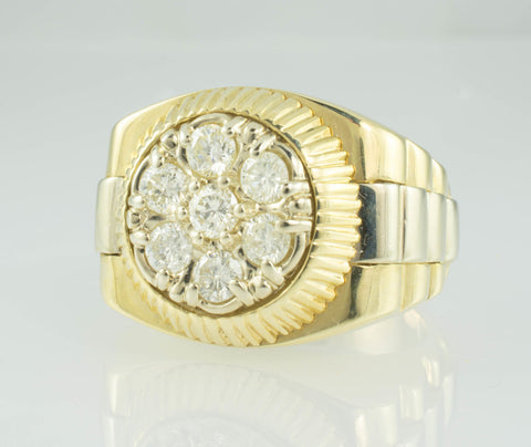 14 Kt Two Tone Gold Rolex Style Men's Diamond Ring