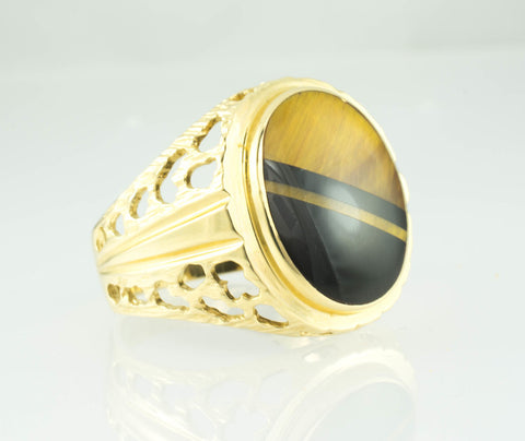 14 Kt Yellow Gold Tiger Eye & Onyx Men's Ring