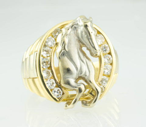 14 Kt Two-Tone Gold Horse Cubic Zirconia Men's Ring