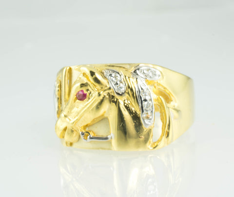 14 Kt Two Tone Gold C/Z Horse Men's Ring