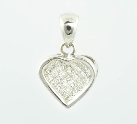 14 Kt White Gold & Diamond Heart Charm