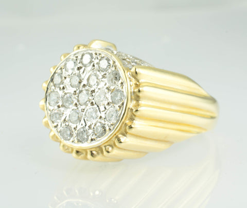 14 Kt Yellow Gold & Diamond Men's Ring