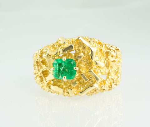 14 Kt Yellow Gold Emerald Nugget Men's Ring