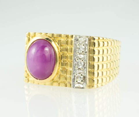 18 Kt Yellow Gold Ruby & Diamond Men's Ring