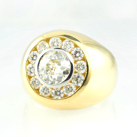 14 Kt Yellow Gold Custom Men's Diamond Ring