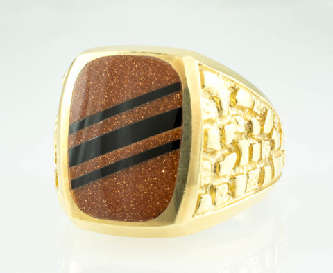 14 Kt Yellow Gold GoldStone & Onyx Men's Ring