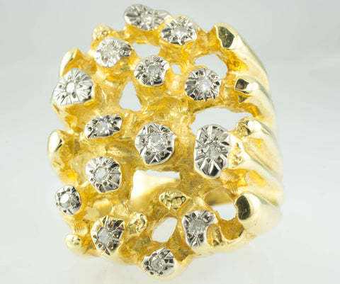 14 Kt Yellow Gold Solid Nugget Men's Diamond Ring