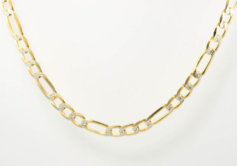 14 Kt Yellow Gold Diamond Cut Figaro Chain
