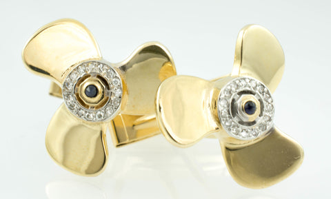 14 Kt Yellow Gold Diamond & Sapphire Propellor Cufflinks