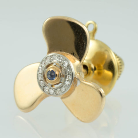 14 Kt Yellow Gold Diamond & Sapphire Propellor Tie Tack