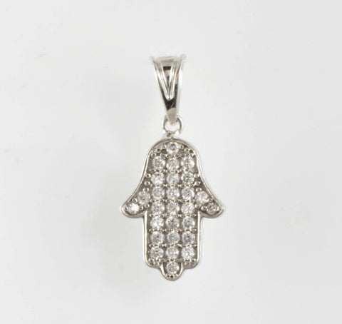 14 Kt White Gold C/Z Good Luck Hamsa Charm
