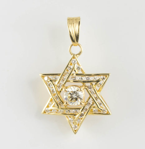 14 Kt Yellow Gold Star of David Diamond Charm