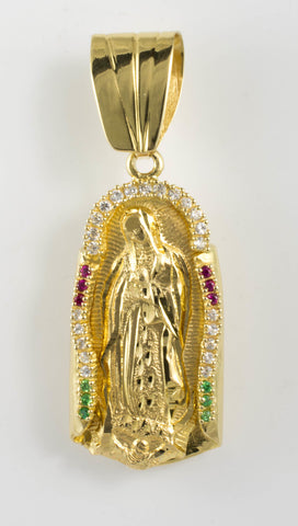 14 Kt Yellow Gold C/Z Our Lady of Guadalupe Charm