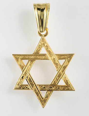 14 Kt Yellow Gold Star of David Charm