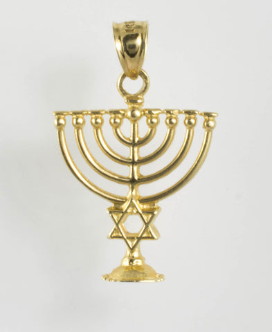 14 Kt Yellow Gold 3D Menorah Charm