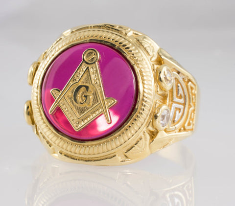14 Kt Two-Tone Gold C/Z Mason Ring
