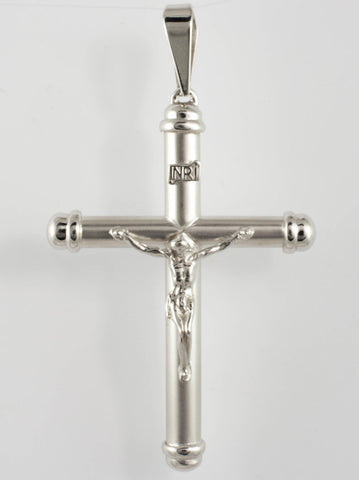 14 Kt White Gold Hollow Inri Crucifix