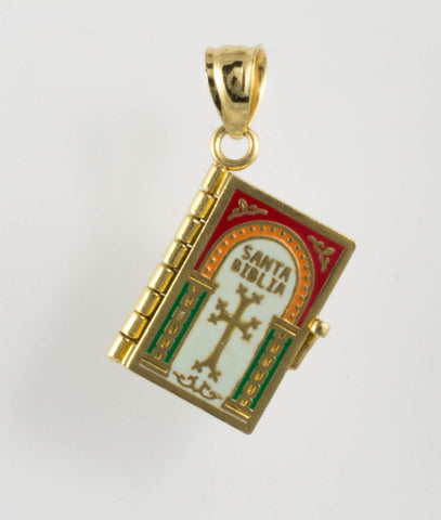 14 Kt Yellow Gold Multicolor Bible Charm
