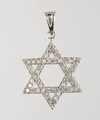 14 Kt White Gold Star of David Charm