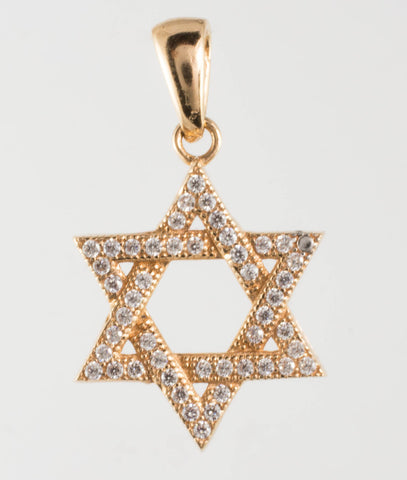 14 Kt Rose Gold Star of David Charm