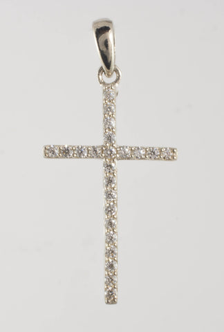 14 Kt White Gold C/Z Ladies' Cross