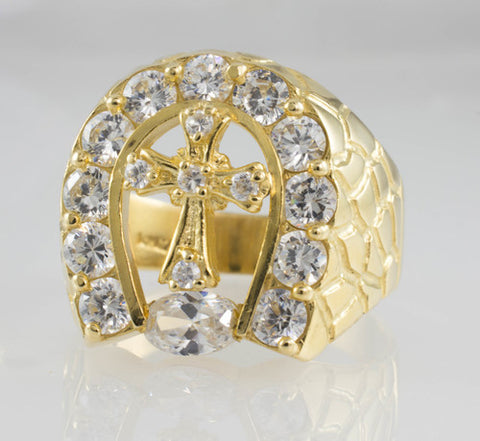 14 Kt Yellow Gold C/Z Cross Ring